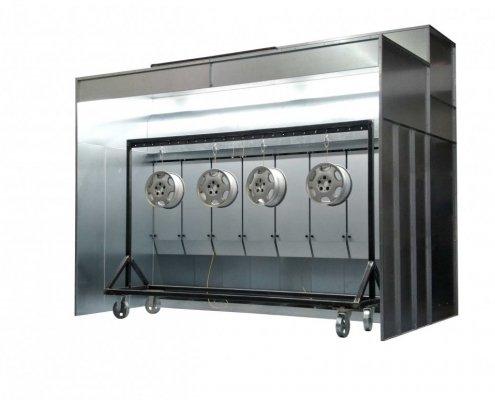 Pulverbeschichtungsanlage für Felgen Pulverkabine und Ofenwagen